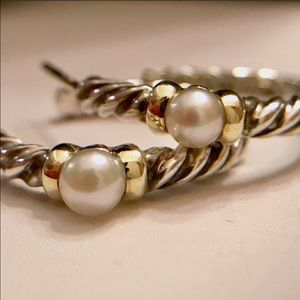 DY pearl 14K/Sterling hoops FINAL PRICE & DY GIFT